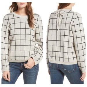 EUC MADEWELL LACED-BACK SWEATER, WINDOWPANE, M
